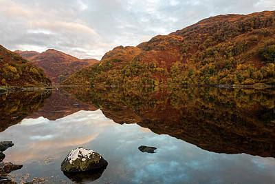 Loch Hourn Autumnal Reflections Poster by Derek Beattie