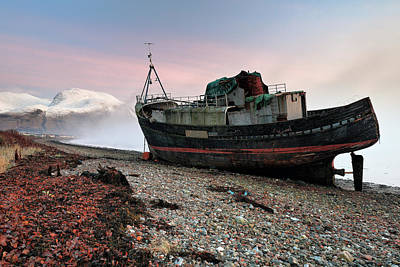 Poster featuring the photograph Loch Linnhe Misty Boat Sunset by Grant Glendinning