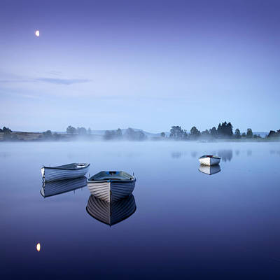 Loch Rusky Moonlit Morning Poster by David Mould
