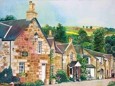 Poster featuring the painting Loch Tummel Innn - Scotland by LeAnne Sowa