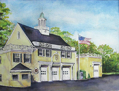 Poster featuring the painting Locust Valley Firehouse by Susan Herbst