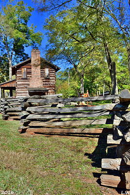 Log Cabin And Wooden Fence At Ninety Six National Historic Site Poster by Lisa Wooten