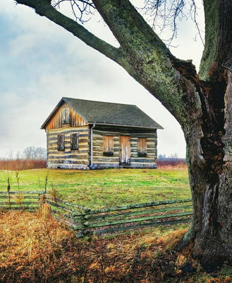 Log Cabin - Paradise Springs - Kettle Moraine State Forest Poster by Jennifer Rondinelli Reilly - Fine Art Photography