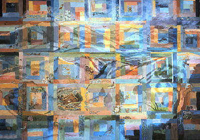 Poster featuring the painting Log Cabin Quilt by Dawn Senior-Trask