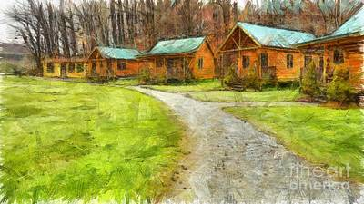 Log Cabins Pencil Poster by Edward Fielding