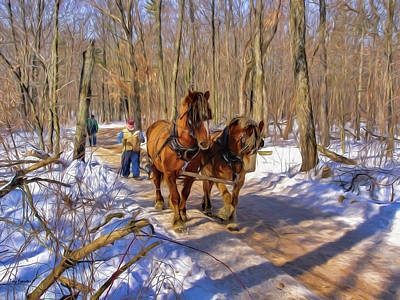 Logging Horses 1 Poster by Trey Foerster