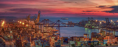 Logistic Port With Cargo Ship  Poster
