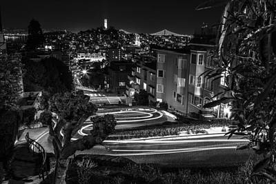 Lombard Street Streaking Black And White  Poster by John McGraw