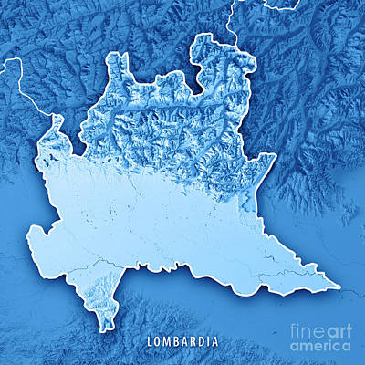 Lombardia State Italy 3d Render Topographic Map Blue Border Poster
