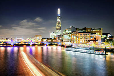 London At Night With Urban Architecture, Amazing Skyscraper And Boat At Thames River, United Kingdom Poster