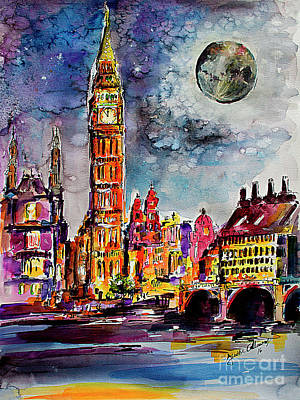 London Big Ben Tower Moon Sky Poster by Ginette Callaway