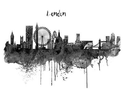 London Black And White Skyline Watercolor Poster