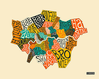 London Boroughs Map Typography Poster by Jazzberry Blue