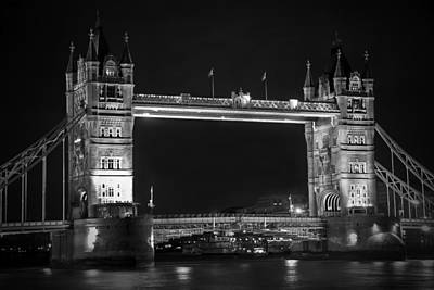 London Bridge At Night Bw Poster by Kamil Swiatek