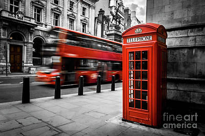 London Bus And Telephone Box In Red Poster