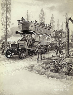 London Buses Used To Take Troops To The Front During Wwi Poster by Pat Nicolle