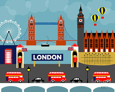 London England Horizontal Scene - Collage Poster