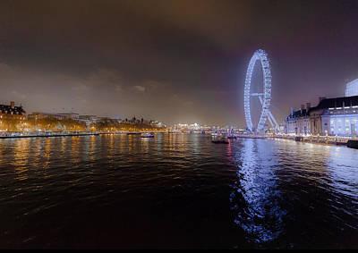 London Eye At Night Poster by Patrick Kain