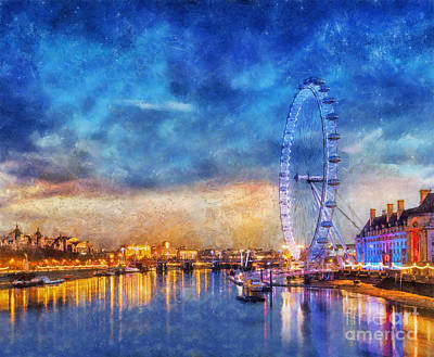 Poster featuring the photograph London Eye by Ian Mitchell