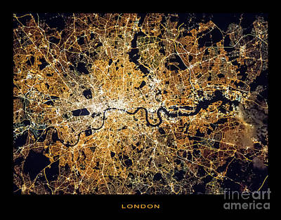 Poster featuring the photograph London From Space by Delphimages Photo Creations