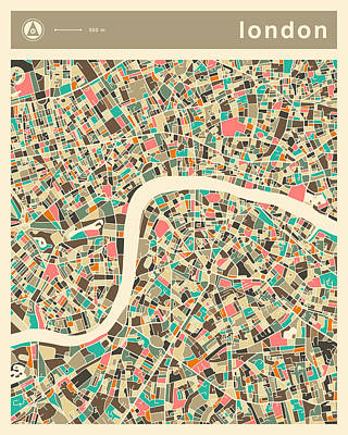 London Map 2 Poster by Jazzberry Blue