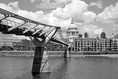London Millennium Bridge And St Pauls Cathedral Monochrome Poster by Melanie Viola