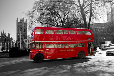 London Red Bus Poster by David French