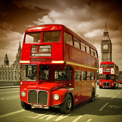 London Red Buses On Westminster Bridge II Poster