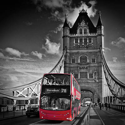 London Tower Bridge And Red Bus Poster by Melanie Viola