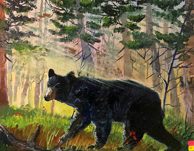 Lone Black Bear Poster by Bryan Benson