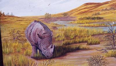 Poster featuring the painting Lone Grazer by Myrna Walsh
