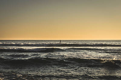 Lone Paddler At Sunset Poster by Marco Oliveira