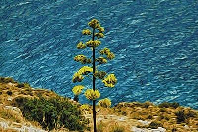 Lone Tree On Seashore Poster