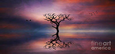 Poster featuring the digital art Lone Tree Sunrise by Ian Mitchell