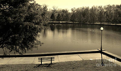 Lonely Park Bench - Sepia Poster