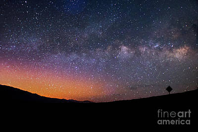 Lonely Road Death Valley Milky Way Galaxy Poster by Timothy Kleszczewski