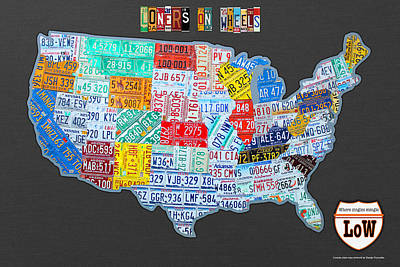 Loners On Wheels Singles Rv Club License Plate Map Usa Road Trip Poster