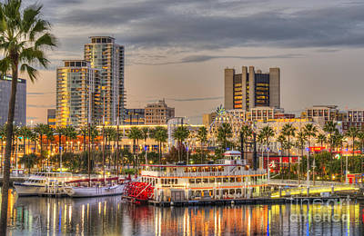 Long Beach Cityscape Sunset Poster by David Zanzinger