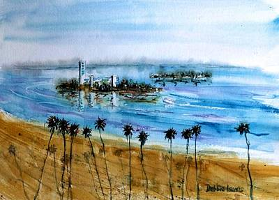 Long Beach Oil Islands Before Sunset Poster by Debbie Lewis