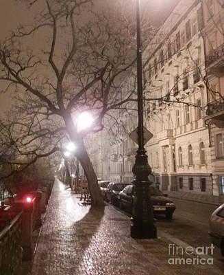 Long Cobblestone Street Of Prague Poster by Margaret Brooks