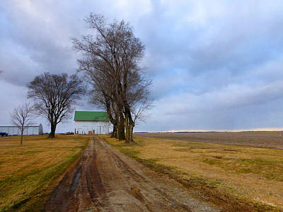 Long Driveway To The Green Roof Barn Poster