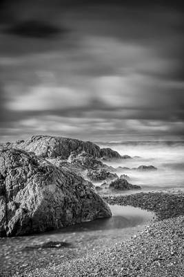 Long Exposure Of A Shingle Beach And Rocks Poster