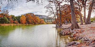 Long Exposure Panorama Of The Frio River And Old Baldy At Garner State Park - Texas Hill Country Poster