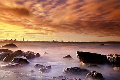 Long Exposure Sea And Rocks Near Tallinn Poster by Sandra Rugina