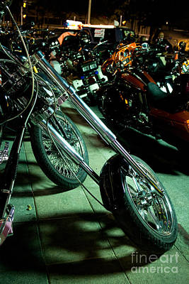 Long Front Fork And Wheel Of Chopper Bike At Night Poster