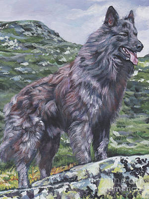 Poster featuring the painting Long Hair Dutch Shepherd by Lee Ann Shepard