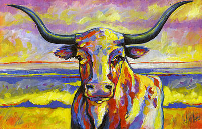 Long Horn At Sunset Poster by Leanne Wilkes
