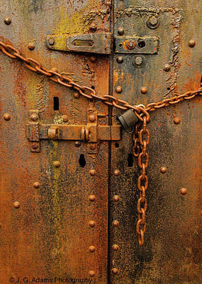 Poster featuring the photograph Long Locked Iron Door by Jim Adams