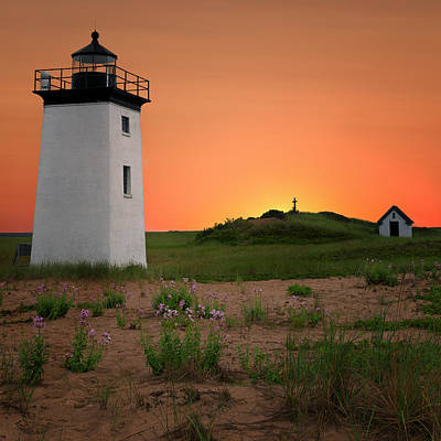 Long Point Light Sunset Poster by Bill Wakeley