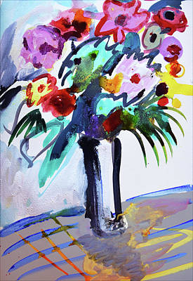 Long Vase Of Red Flowers Poster
